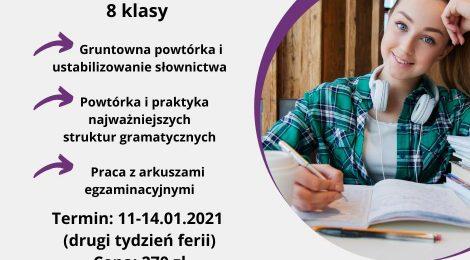 Intensywny kurs przygotowujący do egzaminu 8 klasisty- ferie 2021